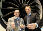 GE Aviation president and CEO David Joyce, left, announced that the engine maker will build a factory in North Carolina to produce ceramic matrix components. Dan Forest, N.C. lieutenant governor, shared the news.