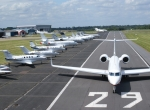 A crowd of aircraft parked at London Biggin Hill Airport.
