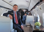 Gulfstream president Joe Lombardo relaxes in G650's spacious cabin....