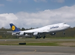 First Lufthansa 747-8I departs Paine Field in Everett, Wash.