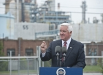 Pennsylvania Gov. Tom Corbett in front of Trainer Refinery
