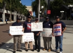 TWU workers protest outside Univision forum