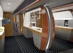The rendering of a bizliner galley is one example of Yankee Pacific's design department creativity.