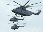 Russia aims to expand its product line and to boost global sales of its military helicopters, such as the Mi-26 (top) and the Mi-17.