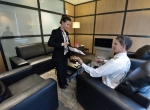 Universal's recently refurbished FBO at Paris Le Bourget offers pilots a comfortable lounge to relax in.