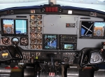 SimCom's King Air 200 simulator can be configured to represent various glass cockpit avionics upgrades found in its customers' airplanes.