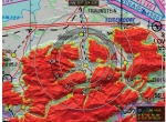 EuroNav's digital terrain elevation model (DTED), depicted on a VFR chart, highlights topography and obstacles using pre-defined coloring models for real-time display of safe or unsafe terrain.