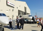 Jet Aviation St. Louis hosted its first NBAA regional forum in September,  held in one side of the largest hangar, which is used for large-cabin business jet maintenance.