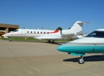 The first Learjet 85 (in white) was on display in Wichita October 17 during delivery ceremonies for the first Learjet 75s.