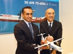 Dubai Aerospace Enterprise managing director Khalifa Al Daboos (left) with ATR chief executive Filippo Bagnato. (Photo: Mark Wagner)