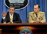U.S. Secretary of Defense Leon Panetta and Navy Admiral Mike Mullen, chairman...