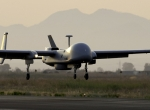 A French Air Force Harfang UAV returns to Sigonella, Sicily, after its first