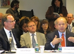 JetBlue Airways CEO Dave Barger (l) and FAA Deputy Administrator Michael Huer...