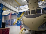 A nearly-completed CH-47 Chinook inside the factory near Philadelphia. (Photo...