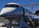 The new Gulfstream 250 is at rest on the ramp at DeKalb Peachtree Airport aft...