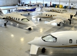 These four Avantair aircraft, at New York-area Teterboro Airport, were repossessed by Rapid Aircraft Maintenance Services, which is planning to auction the aircraft if Avantair does pay its maintenance bills. (Photo: Kirby J. Harrison)
