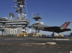 First arrested landing of F-35C on an aircraft carrier