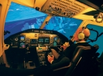 A pilot undergoes training in one of FlightSafety's Bell 430  simulators.