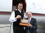 NetJets chairman and CEO Jordan Hansell and Bombardier Business Aircraft president Steve Ridolfi