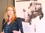 Pankl Aerospace Innovations won the first Sikorsky Innovations Entrepreneurial Challenge for its technology demonstrator, which featured active camouflage, bionically inspired rotor blades and advanced aerodynamics. Shown here is Pankl Aerospace Innovations CEO Sonya Zierhut.