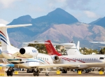 A group of private jets in South America.